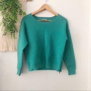 HALOGEN Green Side Zip Ottoman Ribbed Knit Sweater